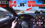 Audi S4 naháňa na autobahne s Camarom V8. Je to nerovný boj
